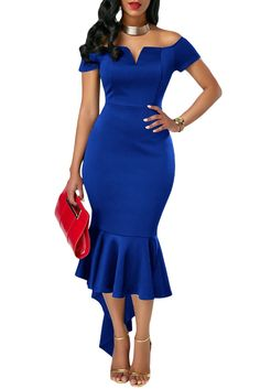 Get it while it's hot! New to the store, Her Fashion Trend... http://HisandHerFashion.com/products/her-fashion-trendy-navy-blue-off-shoulder-short-sleeve-mermaid-dress?utm_campaign=social_autopilot&utm_source=pin&utm_medium=pin  #dresses #summer @outfits