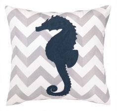 Seahorse Chevron Pillow - beach house decor