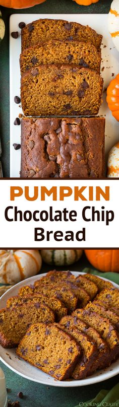 Pumpkin Chocolate Chip Bread - this recipe is the best! It has the perfect amount of that pumpkin and autumn spice flavor, just enough chocolate chips, and it's oh so moist and tender. via Jaclyn {Cooking Classy} Pumpkin Recipes, Fall Recipes, Sweet Recipes, Cooking Pumpkin, Pumpkin Chocolate Chip Bread, Pumpkin Bread, Pumpkin Pumpkin, Pumpkin Dishes, Delicious Desserts