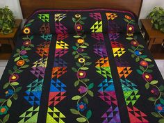 Flower Power Quilt -- magnificent specially made Amish Quilts from Lancaster (hs5380)
