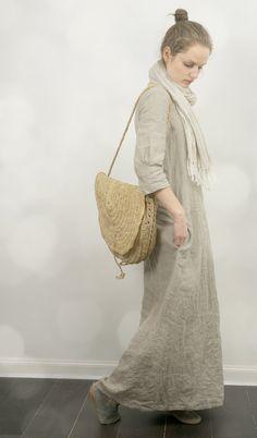 Long Dress in Natural Linen by KnockKnockLinen on Etsy, £110.00