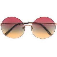 Linda Farrow x Matthew Williamson round frame sunglasses ($290) ❤ liked on Polyvore featuring accessories, eyewear, sunglasses, grey, linda farrow, grey glasses, linda farrow eyewear, round sunglasses and linda farrow sunglasses