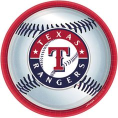 The Texas Rangers Dessert Plate featuring the Rangers baseball design help cheer on your favorite team in the annual race to the pennant. The plates are a heaping 9 inches in diameter. Each pack includes 18 dessert plates. Don't forget the matching Texas Texas Rangers Logo, Rangers Team, Rangers Baseball, Sports Baseball, Baseball Teams, Baseball Cap, Baseball Playoffs, Baseball Season, Dallas Sports