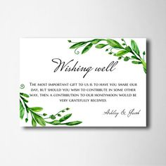 Wishing Well Cards Green Wedding Printable Summer Instant