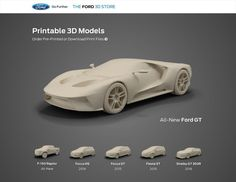 Ford launches http://3d.ford.com/, offering 3D printable models of its cars for sale on TurboSquid.