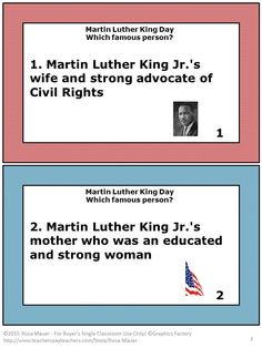FREE! Martin Luther King Jr. and other famous Americans of the time are described on each card. Students are to choose the correct person from the list of Americans to match each description. A response form for students and an answer key for the teacher are provided. Use this activity with your own unit, a web quest, or to correspond with I Am #4: Martin Luther King Jr. by Grace Norwich. Enjoy this free product during Black History Month or any time of year.