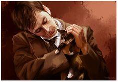 Amazing Doctor Who art. Ten with little kitten)