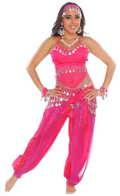 Belly Dancer Harem Genie Costume - FUCHSIA / SILVER-Get a complete belly dance costume!  sc 1 st  Pinterest & 5-PIECE SEXY HAREM BELLY DANCER COSTUME (PURPLE) - Item #3722 on www ...