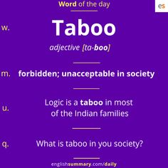Taboo meaning in english, and examples Advanced English Vocabulary, Learn English Grammar, English Writing Skills, English Idioms, English Language Learning, English Phrases, Learn English Words, English Lessons, Grammar And Vocabulary