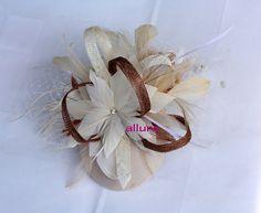 BIRDCAGE VEIL Wedding hat Feathers headdress Bridal by klaxonek, $199.00