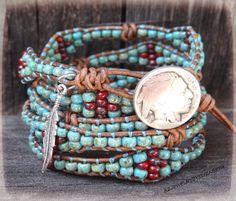 Seed Bead Wrap Bracelet Native American by AZJEWELRYBYELIZABETH