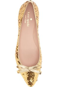 Gold sequins and a dainty bow embellishment make these Kate Spade flats stand out.