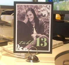 Print a different picture of you and david for each table with the table number