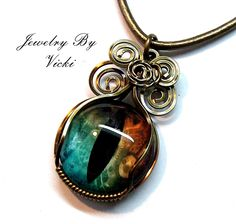 Steampunk Wire Wrapped Dragon Eye Necklace