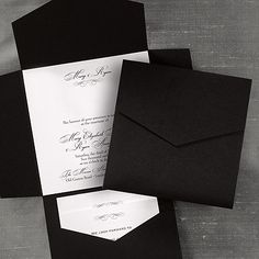 Fancy Black and White Pocket - Invitation.Black and white are combined to form this striking pocket invitation. The white card will feature all of your wording with your names and a motif at the top. Pocket Invitation, Pocket Wedding Invitations, Wedding Invitation Wording, Wedding Stationery, Custom Invitations, Invitation Ideas, Invitation Cards, Invite, 50th Birthday Centerpieces
