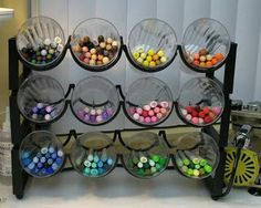 Wine rack and plastic cup organization