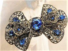 1920s Art Deco Signed CZECHOSLOVAKIA Sapphire Blue Glass Rhinestone Brooch Brass Filigree Bow Tie Czech Bohemian Wedding Bride Bridal Brooch