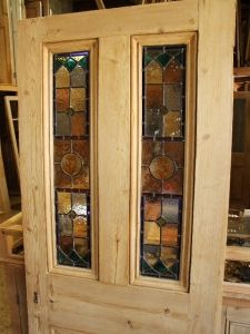 Set of 3 antique oak all beveled leaded glass doors french doors antique stained glass front door with handpainted glass panels planetlyrics Gallery