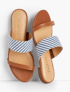 Details Who says seersucker is just for clothes? We love this fresh twist on a classic sandal. Our seersucker slides feature a narrow vachetta leather strap too, for added support. Sandals Outfit, Cute Sandals, Sport Sandals, Women's Shoes Sandals, Wedge Shoes, Shoes Sneakers, Greek Sandals, Summer Sandals, Flat Shoes