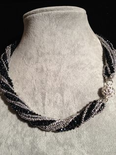 Necklace - Crystals multi strands Black and silver