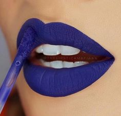 Love my blue lipstick! Lipstick, lip balm and lip gloss. Blue Lipstick, Velour Liquid Lipstick, Lipstick Art, Lipstick Shades, Lipstick Colors, Lip Colors, Lip Makeup, Makeup Tips, Orange Lips