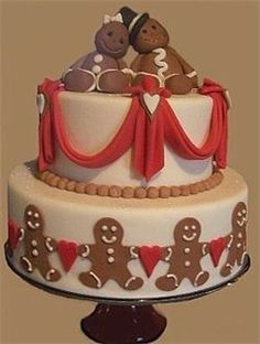 Gingerbread Man and Wife Cake, Christmas Wedding Cakes, Holiday Cakes, En Pointe Weddings and Events, Dallas Fort Worth Frisco, Texas