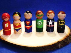Superheroes  Set of Six Itty Bitty Minis. $72.00, via Etsy.