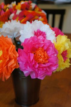 Tissue Paper Flowers with Recessed Centers by PrincessApprovedShop