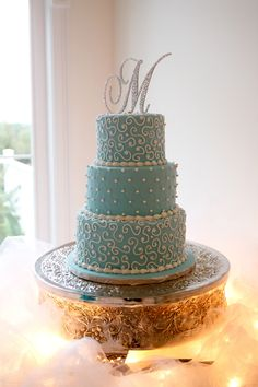"""""""M"""" Cake Topper, Check out the middle layer design & this could square or round!"""