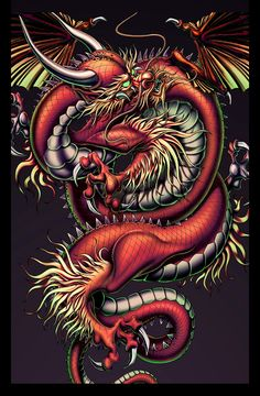 Argus Ink- Premier eye-opening original art on apparel and as posters. Small Dragon Tattoos, Japanese Dragon Tattoos, Japanese Tattoo Art, Dragon City, Red Dragon, Dragon Koi Tattoo Design, Dragon Illustration, Dragon Sleeve, Dragon Artwork