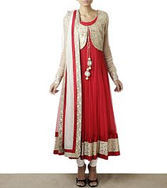 Red Georgette and Silk Anarkali Suit