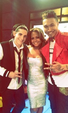 The Voice social media correspondent Christina Milian with #TeamCeeLo members James Massone and Jamar Rogers. #TheVoice