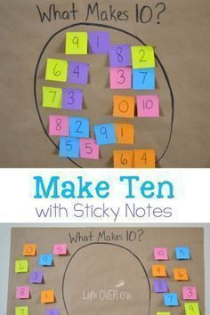 Fun Addition Math Facts Game for kids! Teach your kids how to play make Ten with Sticky Notes! This is a fun math game for kids! This game will make learning math fun for everyone! Try this great learning game today! Kindergarten Games, Fun Math Games, 1st Grade Math Games, Maths Games Ks1, Math Addition Games, Maths Fun, Kindergarten Addition, Mathematics Games, Subtraction Kindergarten