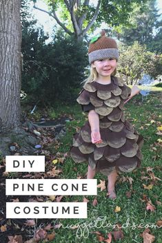 DIY Pine Cone Costume. Complete tutorial to make this unique Halloween costume. Perfect for a toddler, preschooler or teen, this custom craft project is easy and affordable. #DIY #Craft #Halloween #Costume #uniquecostume #pinecone
