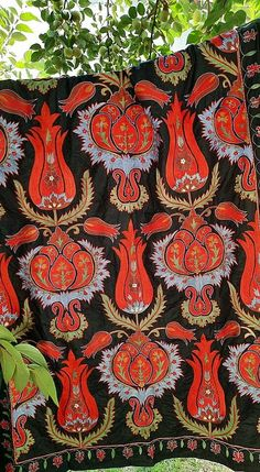 Central Asia, Fabric Strips, Silk Fabric, Needlework, American Houses, Contemporary Embroidery, Table Covers, Bed Spreads, Traditional Art