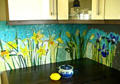 'The Four Seasons' Mosaic Kitchen Backsplash / Shared by Fabrizio Roberto UK www.fabrizioroberto.co.uk - custom-made glass mosaics and fresco wallcoverings