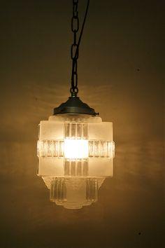 Square art deco pendant light