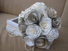 Vintage Paper Wedding Bouquet by moniaflowers on Etsy