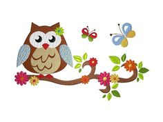 18x13 Stickdatei Owls in Spring 2 Owl on Branch 2 von kindundkegel-shop auf DaWanda.com