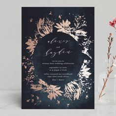 """Pressed Flowers"" - Foil-pressed Wedding Invitations in Navy by Phrosne Ras."
