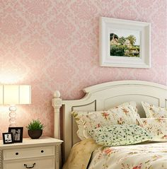Luxury  Victorian Vintage Light Pink Damask Fabric Wallpaper Bedroom Wallpaper Wall Covering $39.99