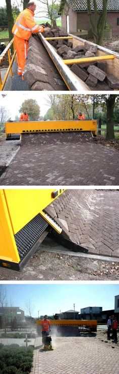 Dutch machine for laying brick roads. Click image to tweet, and visit the Slow Ottawa boards >> https://www.pinterest.com/slowottawa/