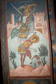 Visoki Dečani monastery, c. Fresco, Byzantine Icons, Saint George, Medieval Art, Sacred Art, Scene, Christian, Serbian, Painting
