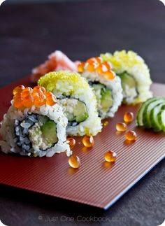 California Roll with real cooked crab meat in a can, avocado, cucumber.. You have to use Japanese Mayo or it won't taste right.