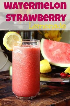 Summer Drink Specialities. #Food #Recipe Watermelon and Strawberry Lemonade!  4 cups cubed and seeded watermelon 3/4 cup strawberries, halved 1/4 cup fresh lemon juice¼ cup white sugar 1 cups water (you may substitute Sprite or 7-up instead of water)  All you have to do is blend this one together in your blender.  It tastes so yummy!!