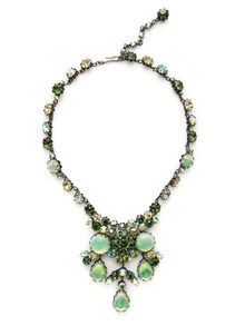 Multi-Cut Green Crystal Cluster Bib Necklace by House of Lavande at Gilt