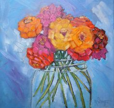 Jar full of Sunshine by Carol Schiff - This little flower painting is sure to brighten up your. Vango Art, Acrylic Art, Original Art, Sunshine, Jar, The Originals, Studio, Flowers, Painting