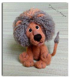Lion OOAK Stuffed Animals Crochet Handmade Soft toy decor door Tjan