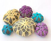 Wedding favor lace stone pebble medium yellow mustard crochet gray beach handmade gift for her Mother home decoration decor Thanksgiving