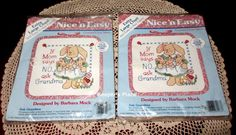 2 Dimensions Nice n Easy If Mom Says No Ask Grandma Counted Cross Stitch Kit NEW #Dimensions #WallHangingDisplayOnAShelf